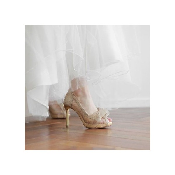Champagne Bridal Shoes Lace Heels Glitter Shoes for Wedding image 2