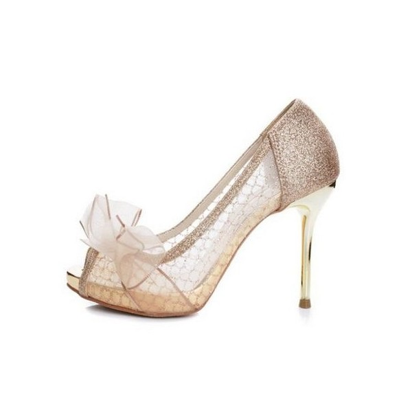 Champagne Bridal Shoes Lace Heels Glitter Shoes for Wedding image 1