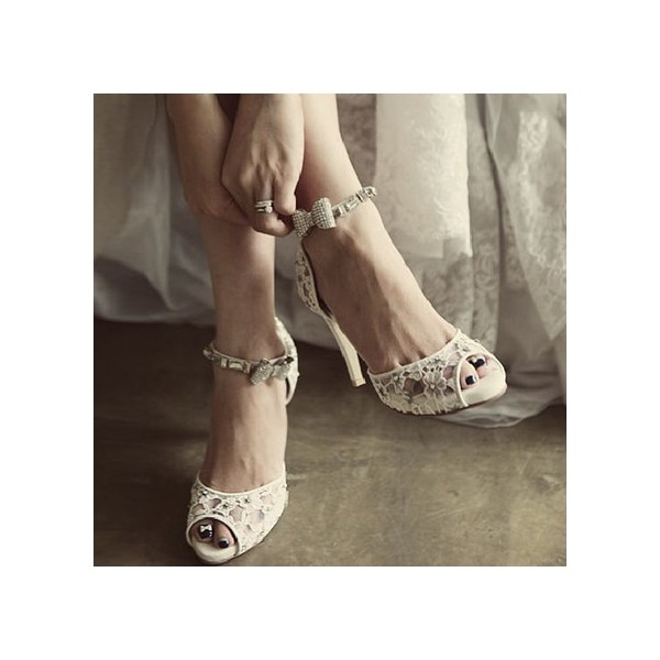 White Bridal Sandals Lace Heels Peep Toe Ankle Strap Wedding Heels image 4