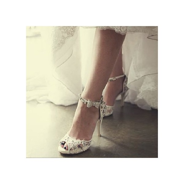White Bridal Sandals Lace Heels Peep Toe Ankle Strap Wedding Heels image 2