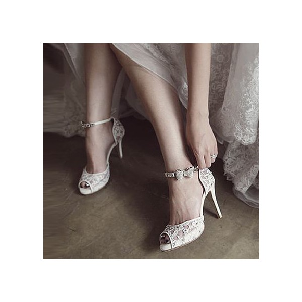 White Bridal Sandals Lace Heels Peep Toe Ankle Strap Wedding Heels image 3