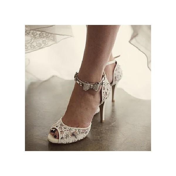 White Bridal Sandals Lace Heels Peep Toe Ankle Strap Wedding Heels image 1