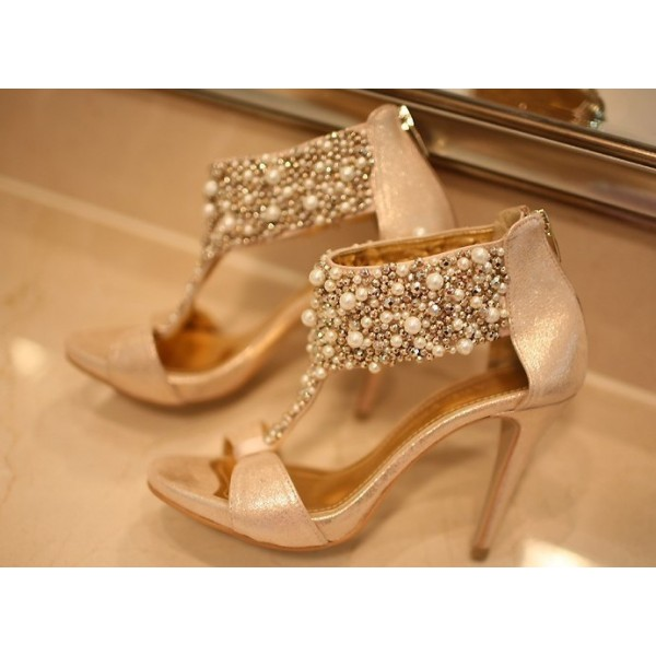 Golden Jeweled T Strap Sandals Open Toe Stiletto Heels Bridal Sandals image 3