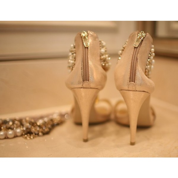 Golden Jeweled T Strap Sandals Open Toe Stiletto Heels Bridal Sandals image 2