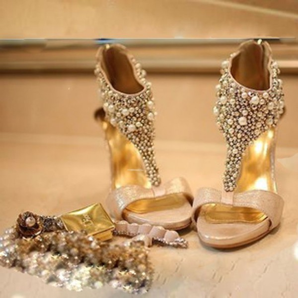 Golden Jeweled T Strap Sandals Open Toe Stiletto Heels Bridal Sandals image 1