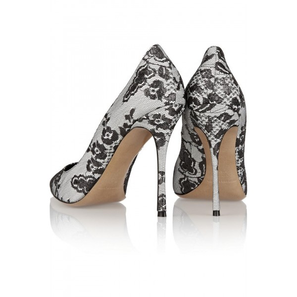 Black and White Lace Heels Evening Shoes Stiletto Heel Pumps image 2
