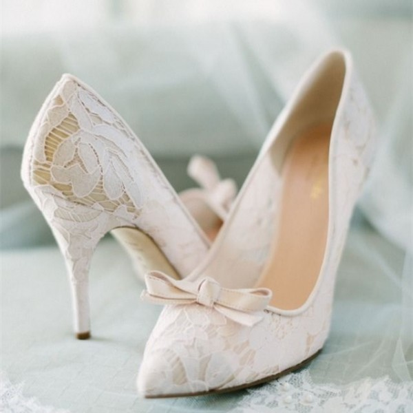 White Bridal Shoes Lace Heels Pointy Toe Wedding Pumps Image 1 ...