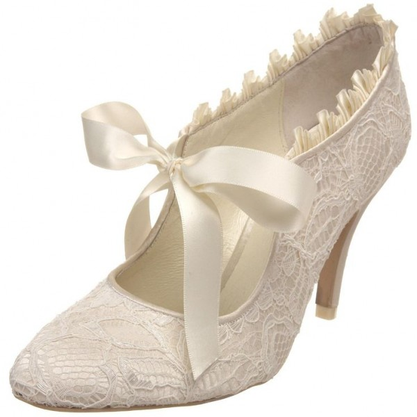 Ivory Bridal Shoes Lace Heels Tie up Pumps for Wedding image 1