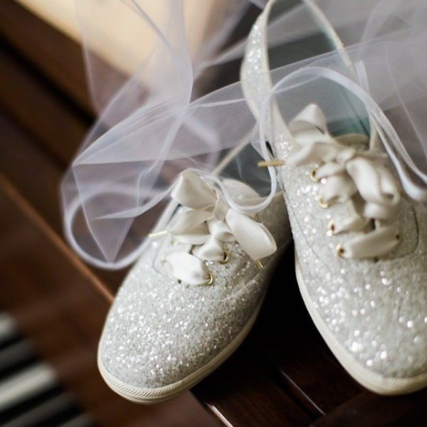 Silver Flat Wedding Shoes Glitter Lace Up Sneakers US Size
