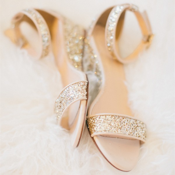 Golden Glitter Bridal Sandals Open Toe Wedge Heels Ankle Strap Sandals image 1