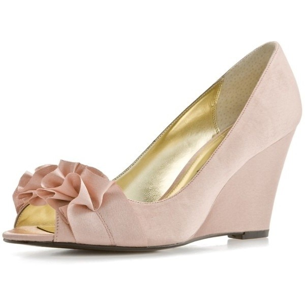 Light Pink Peep Toe Bridal Shoes Ruffle Wedges Pumps for Wedding image 1