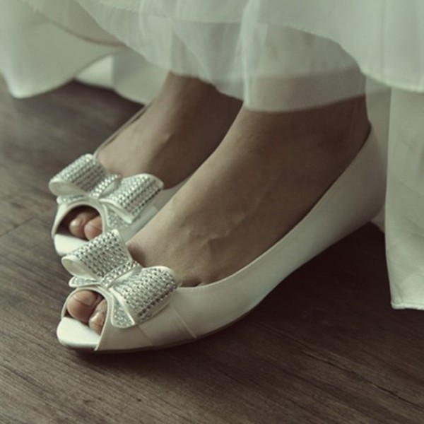 Women's White Peep Toe Bow Flats Bridal Shoes  image 1
