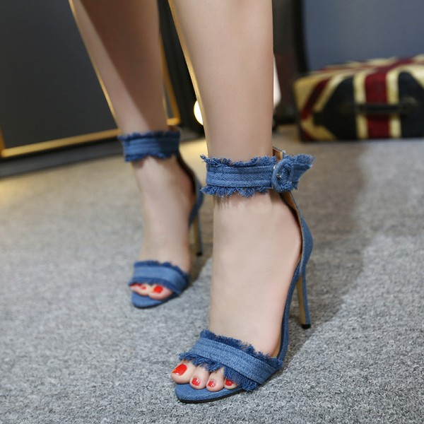 Blue Jean Heels Ankle Strap Open Toe Denim Stiletto Heel Sandals image 1