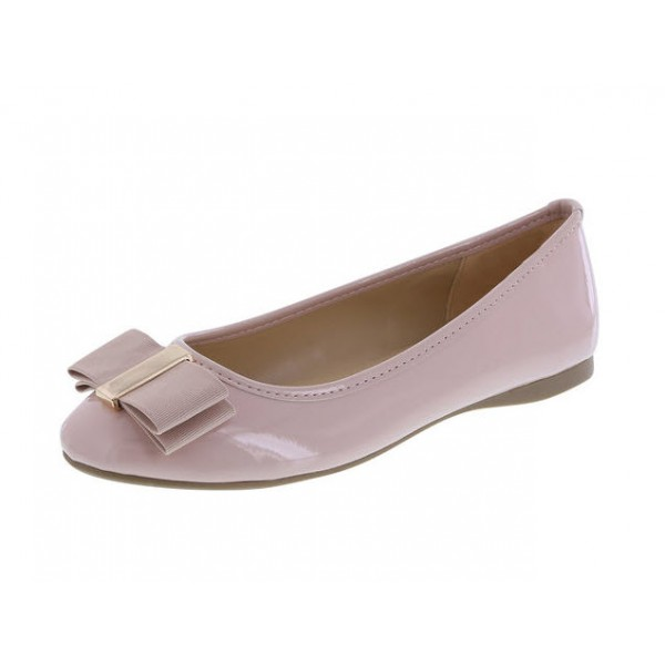 Women's Blush with Bow Round Toe Comfortable Flats Shoes image 1