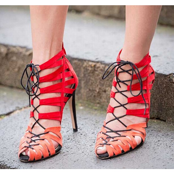 Women's Red Strappy  Hollow Out Stiletto Heel Lace-up Sandals image 1