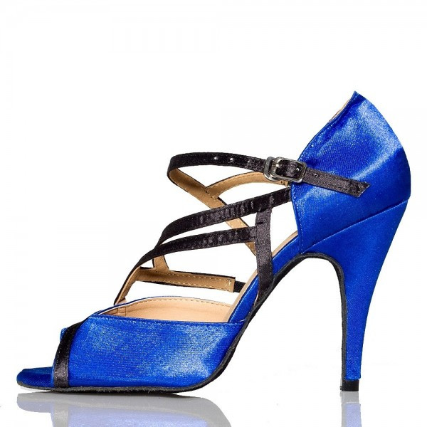 Women's Blue Stiletto Heel Peep Toe Buckle Strappy Sandals  image 1