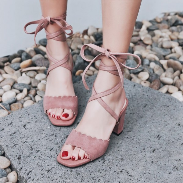 Light Pink Strappy Sandals Suede Chunky Heels  image 1