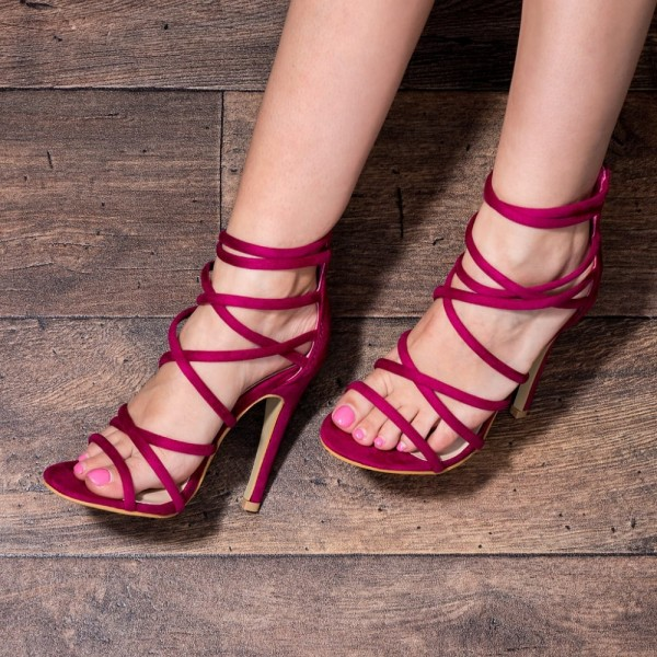 Women's Red Stiletto Pencil heels Open Toe  Strappy  Shoes image 1