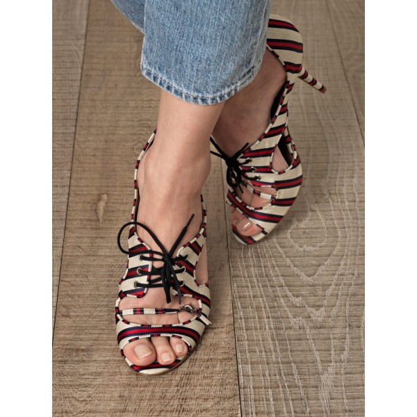Red and Beige Stripes Lace up Heels Peep Toe Stiletto Heel Pumps image 2