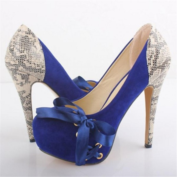 Royal Blue Suede and Python Platform Heels Vegan Pumps US Size 3-15 image 1