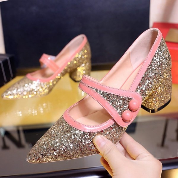 Women's Golden Sparkly Pointed Toe  Chunky Heels Mary Jane Shoes image 1