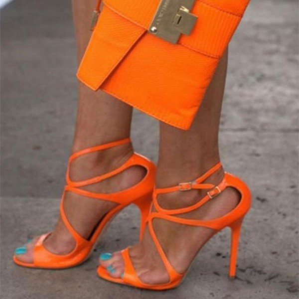 Women's Orange Stilettos Heels Strappy Ankle Strap Sandals image 1