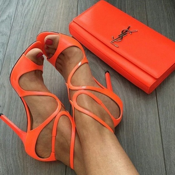Women's Orange Stilettos Heels Strappy Ankle Strap Sandals image 2
