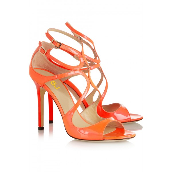 Women's Orange Stilettos Heels Strappy Ankle Strap Sandals image 3