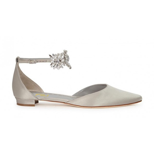 Grey Flat Wedding Shoes Satin Pointy Toe Rhinestone Ankle Strap Flats image 3