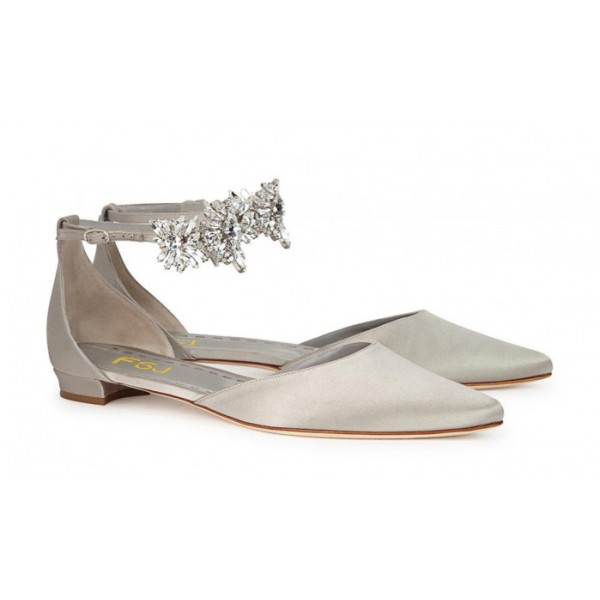 Grey Flat Wedding Shoes Satin Pointy Toe Rhinestone Ankle Strap Flats image 2