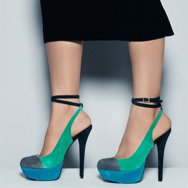 Women's Teal and Blue Stiletto Heel Ankle Strap Heels Pumps Shoes image 1