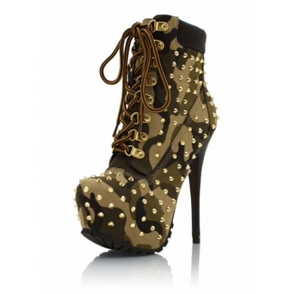 sale retailer dd143 5d5e6 Camouflage Lace up Boots Platform Studded Stiletto Heel Ankle Boots