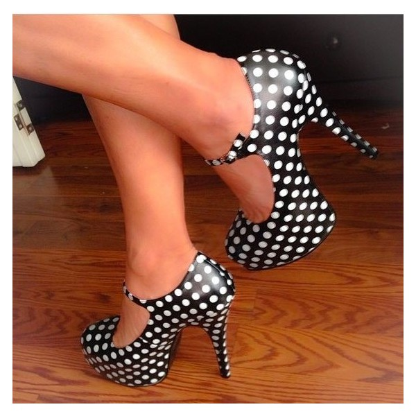 Black and White Heels Polka Dots Stiletto Heels Mary Jane Pumps image 2