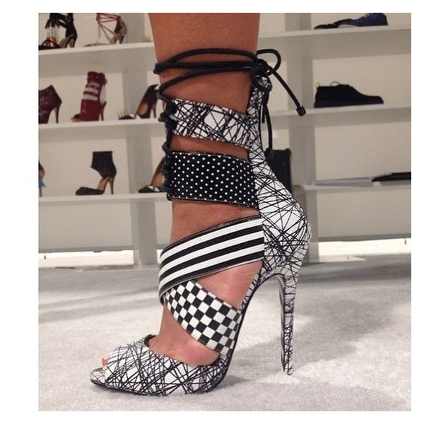 Black and White Lace up Sandals Peep Toe Stiletto Heels for Women image 2