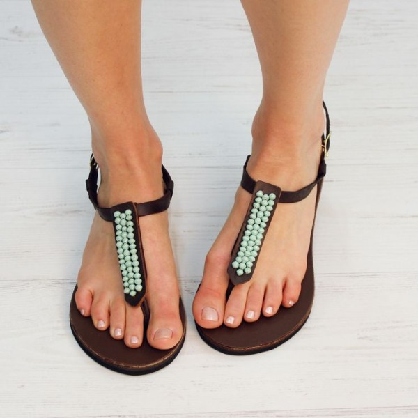Brown Thong Sandals Turquoise Beaded Flat Summer Beach Sandals image 1