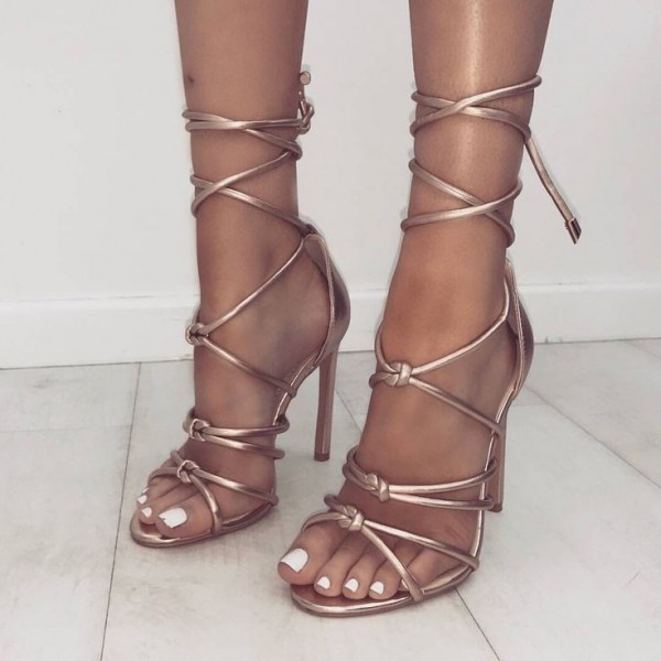 54a2b325514 Metallic Rose Gold Sandals Open Toe Stiletto Heel Strappy Sandals image 1  ...