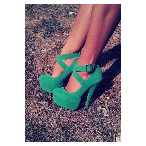Women's Green Stiletto Heels Buckle Platform Strappy Shoes image 1