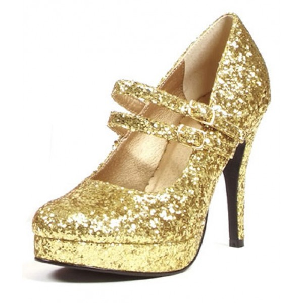 Women's Golden Stiletto Heel Platform Pumps Mary Jane Shoes image 1