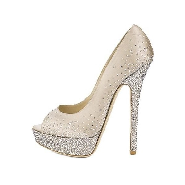 Beige Rhinestone Platform Heels Wedding Shoes Peep Toe Stiletto Heels image 2
