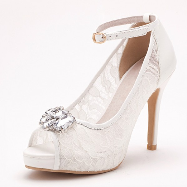 Ivory Bridal Shoes Lace Heels Peep Toe Rhinestone Ankle Strap Pumps image 1