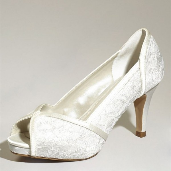 White Bridal Shoes Lace Heels Platform Peep Toe Pumps for Wedding image 1