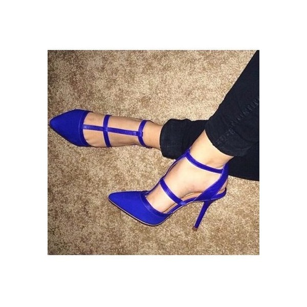 Women's Blue Stiletto Heel Pointed Toe Pumps T-strap  Shoes image 1