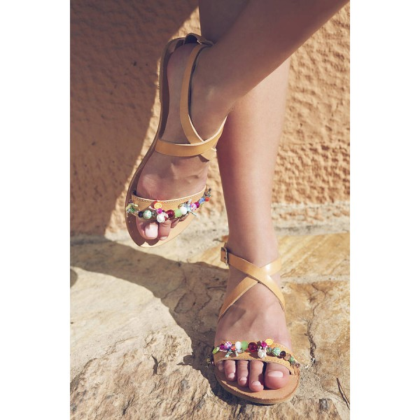 Yellow Summer Sandals Open Toe Beach Flats with Colorful Rhinestone image 1