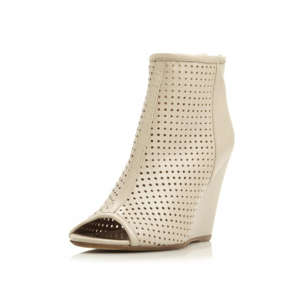 Ivory Wedge Booties Peep Toe Hollow out Ankle Boots image 1