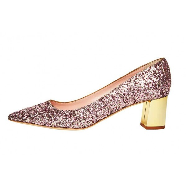 Pink Sparkly Heels Pointy Toe Chunky Heels Glitter Shoes image 1