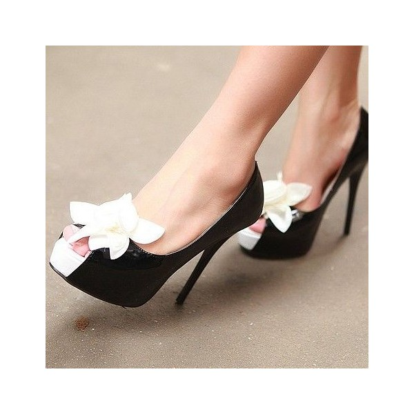 Women's Black with white Flower Peep Toe Stiletto Heels Sandals image 1