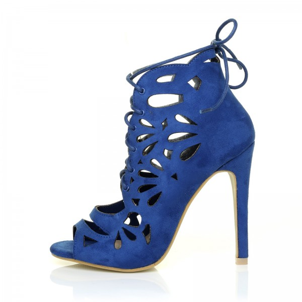 Royal Blue Lace up Heels Laser Cut Suede Peep Toe Heels  image 1