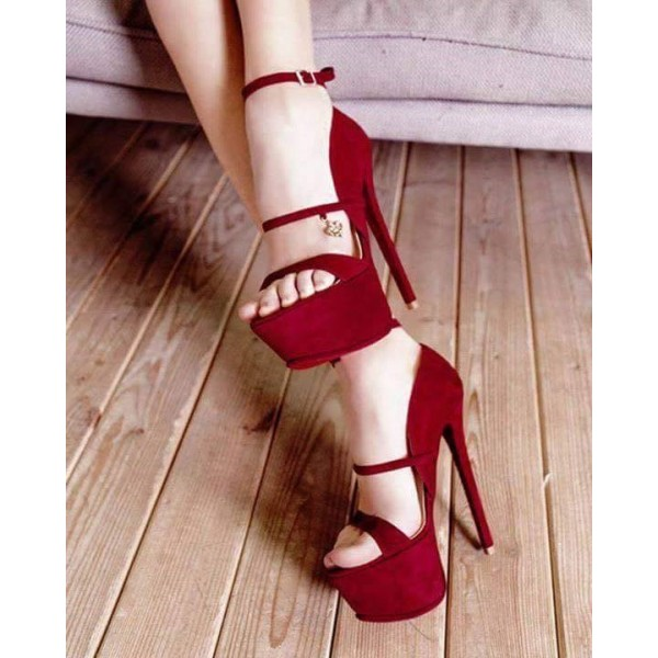 Women's Red Open Toe Stiletto Heels Ankle Strap Sandals image 1