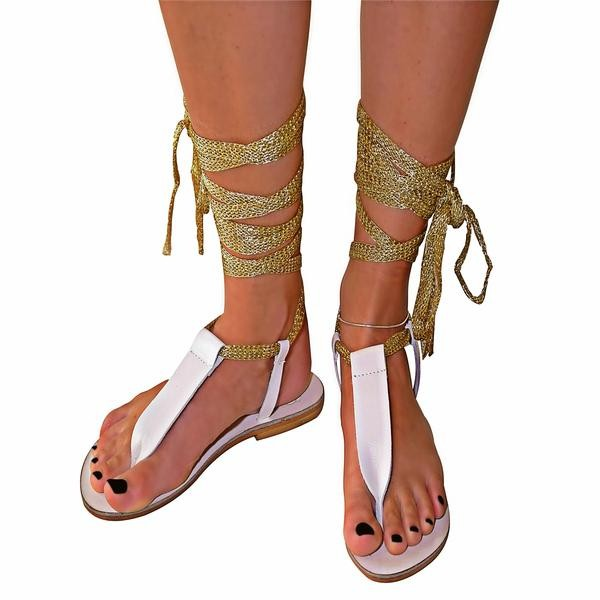 Women's White and Golden Open Toe Comfortable Strappy Sandals image 1