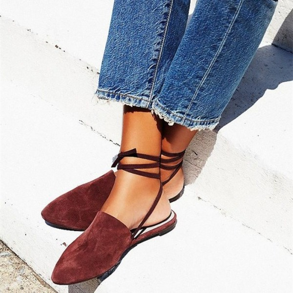 Women's Maroon Strappy Pointed Toe